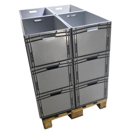 SalesBridges Stapelbakken 60x40x32 cm Eurobox Kratten Kunststof Container  dicht handvat