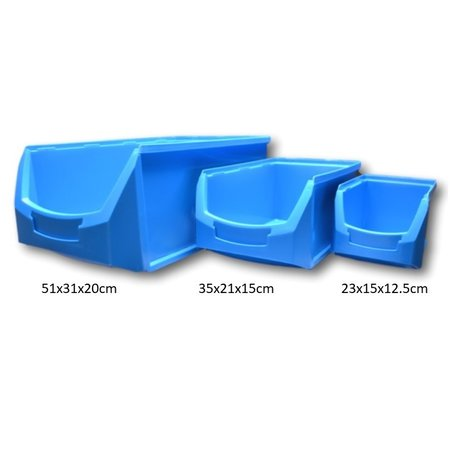 SalesBridges Magazijnbak Kunststof D PP 51x31x20cm  Zwart Plastic Grijpbakken