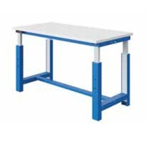 Elektrisch in hoogte verstelbare werktafel SI-model grijs industrieel blauw  300 kg heavy duty - Copy