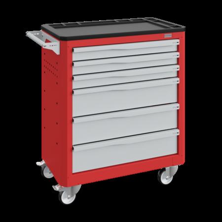 SalesBridges Chariot d'atelier SERVILOG avec tiroirs Rouge