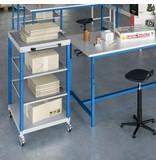 SalesBridges Chariot d'atelier CAR avec 4 plateaux Bleu Industriel