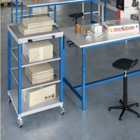 SalesBridges Workshop trolley CAR with 4 trays Industrial Blue