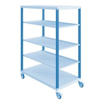 Workshop trolley CAR with trays 5 Blue Industrial