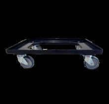 Plateau roulant plastique porte-bacs 60x40 cm Noire
