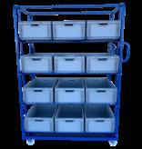 SalesBridges Order Picking Etagewagen 130x65x190cm Magazijnwagen Rolcontainer e-commerce