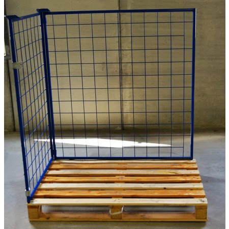 SalesBridges Rehausse palette acier 800x1200x800 mm fenêtre à charnière sur le côté court