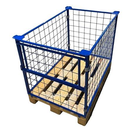 SalesBridges Cage Container steel H1200mm folding window on short side for europallet