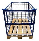 SalesBridges Cage Container steel H800mm folding window on short side for europallet