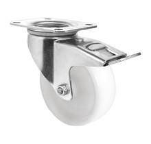 Swivel wheel with brake polyamide  a white 100 mm diameter 150 kg load capacity