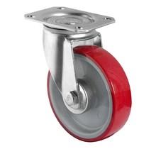 Zwenkwiel 125mm 200kg PU rood