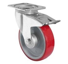 Zwenkwiel met rem 125mm 200kg PU rood