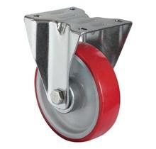 Fixed wheel PU  red 125 mm diameter 200 kg load capacity