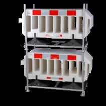 Barrier Fences 2000 x 1000 mm White - 15 pcs + transportation rack