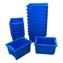 Bac de rangement  Empilable Plastique 40x30x22cm Bleu Emboîtable