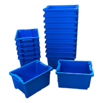 Plastic Stacking Crate 40x30x22cm  Blue Nestable
