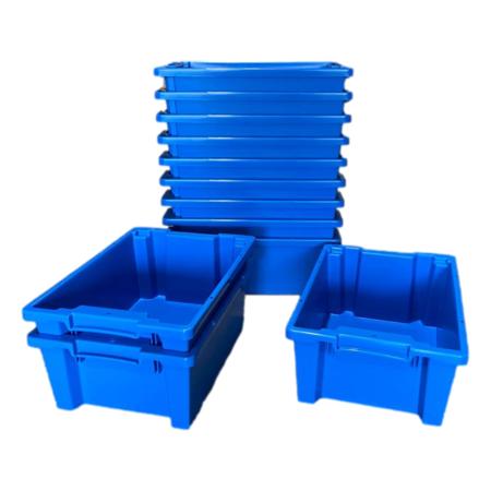 SalesBridges Plastic Stapelkratten 60x40x22cm Blauw Nestbaar
