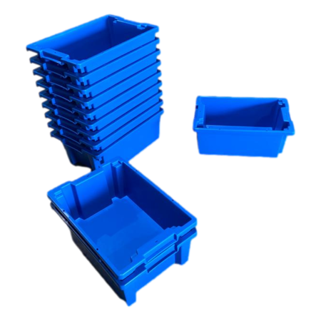 SalesBridges Plastic Stacking Crate 60x40x22cm  Blue Nestable