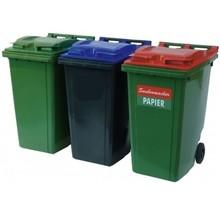 Mini-conteneur Bacs déchets en plastique 2 roues noir 360L