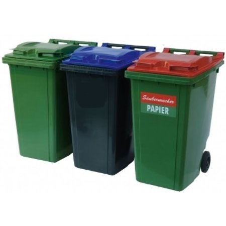 SalesBridges Plastic Rollcontainers Dustbins Minicontainer on Wheels 360L Black