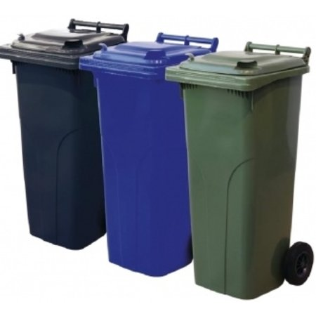 SalesBridges Plastic Roll containers Dustbins Minicontainer on Wheels 140L Green