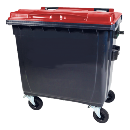 SalesBridges Afvalcontainer 660L Zwart op wielen Zwart