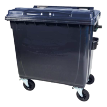 4 wheeled collection waste bin 660L Black