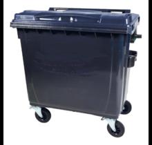 Afvalcontainer 660L Zwart op wielen Zwart