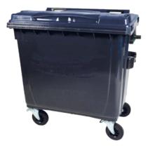 4 wheeled collection waste bin 1100L Black