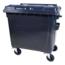 SalesBridges Afvalcontainer 1100L op wielen Zwart  DIN-opname