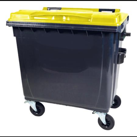 SalesBridges Afvalcontainer 660L Zwart op wielen Groen DIN-opname
