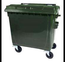 Afvalcontainer 660L Zwart op wielen Groen DIN-opname