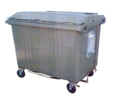 4 wheeled collection waste bin 1700L Black H.D.P.E.