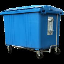4 wheeled collection waste bin 1700L Blue H.D.P.E.