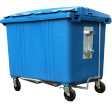 4 wheeled collection waste bin 1700LBlue H.D.P.E.