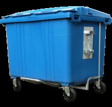 Conteneur de déchets poubelle 1700L Bleu H.D.P.E.