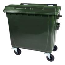 4 wheeled collection waste bin 1100L Green