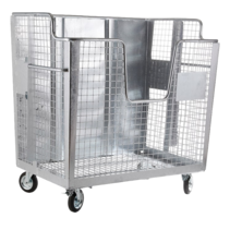 Waste wire mesh container 2000L galvanized  on wheels