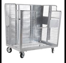 Afval gaascontainer 2000L gegalvaniseerd op wielen met Geesink opname  voor karton, papier