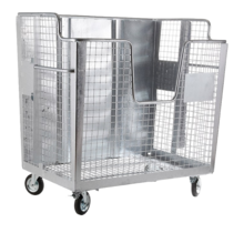 Waste wire mesh container 2000L galvanized  on wheels for cardboard, papers