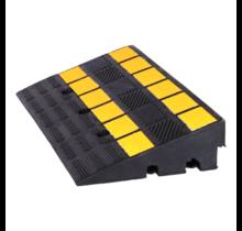 Oprijdrempel van rubber met reflector 60x36x15 cm