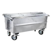 Steel waste container 500L galvanized on wheels
