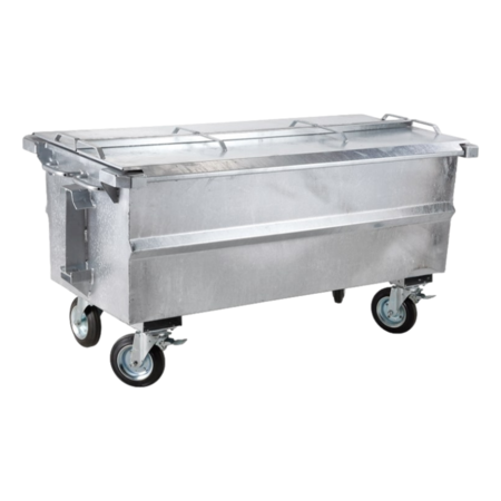 SalesBridges Afvalcontainer  500L staal rolcontainer geesink opname met deksel