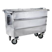 Steel waste container 750L galvanized on wheels
