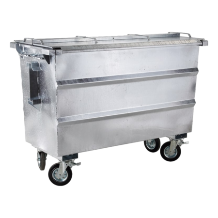 SalesBridges Afvalcontainer  750L staal rolcontainer geesink opname met deksel