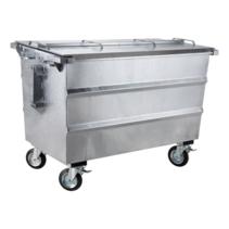Steel waste container 1000L galvanized on wheels