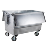 SalesBridges Steel waste container 500L galvanized on wheels with cover