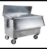 SalesBridges Steel waste container 1300L galvanized on wheels