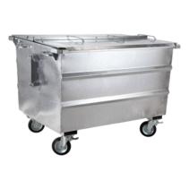 Steel waste container 1300L galvanized on wheels