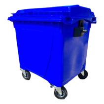 4 wheeled collection waste bin 1100L Blue