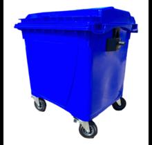 Afvalcontainer 660L Zwart op wielen Blauw DIN-opname